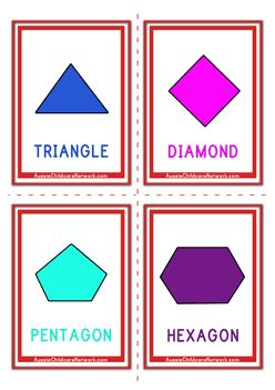 shape flash cards template shapes flashcards classic aussie childcare network