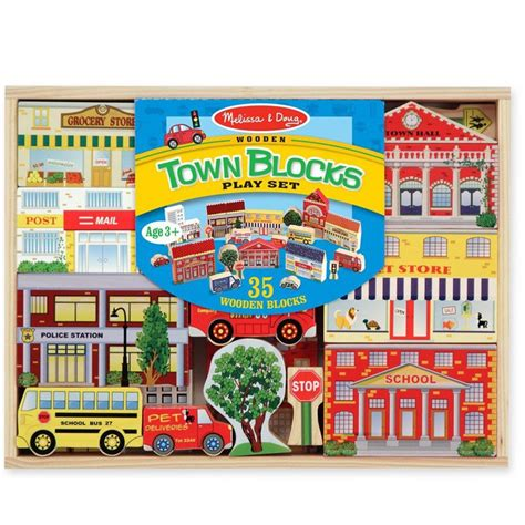 Tiny Town Wooden Block Educational 50 Pcs Puzzles W Moving Cars town blocks wooden play set educational toys planet