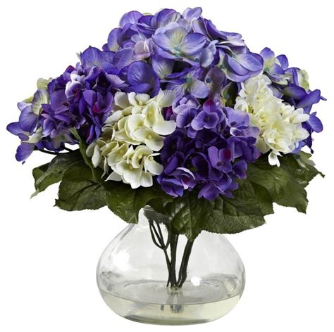 mixed hydrangea vase arrangement contemporary