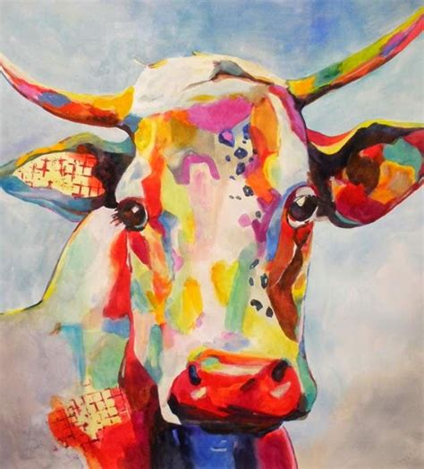 colorful cow painting kaysmithbrushworks contemporary cow 縲ーkey sm莢th