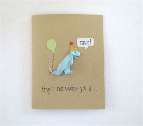 Birthday Card Origami - origami dinosaur birthday card etsy board