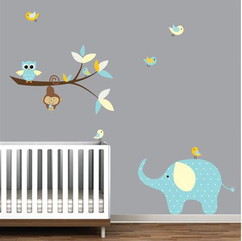 Wall Decals Branch With Elephant Monkey Vinyl Wall Decals Elephant Wall Decals For Nursery