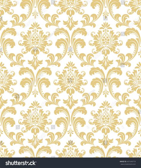 home design gold free floral pattern wallpaper baroque damask seamless stock