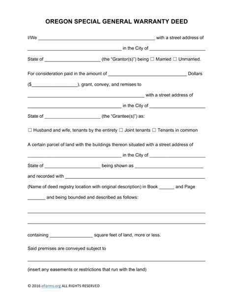 new york county clerk notary section free oregon special warranty deed form pdf word eforms free fillable forms