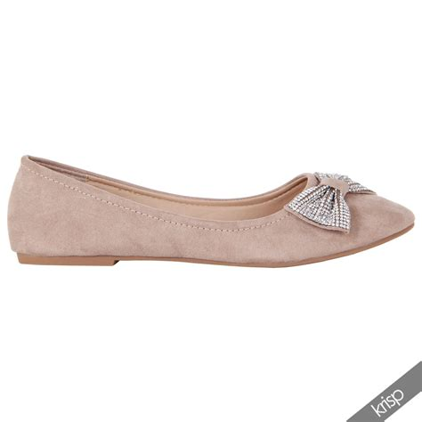 shiny flat shoes womens shiny diamante bow toe ballerina flat heel suede
