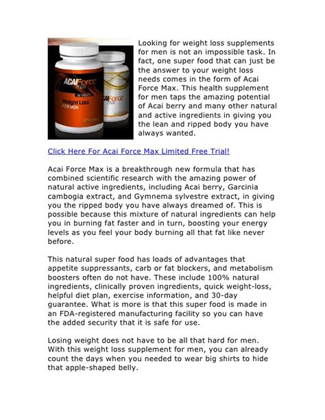1 supplement for weight loss acai max free trial weight loss supplements for
