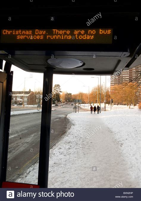 no bus services message on christmas day bus shelter in