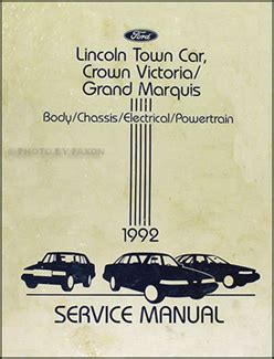 1992 lincoln town car service manual backmixe 1992 lincoln town car crown victoria grand marquis repair shop manual original