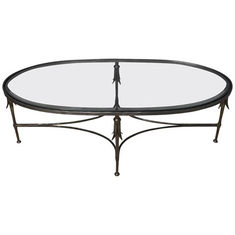 Elegant French Hand Wrought Iron And Glass Oblong Coffee Glass Wrought Iron Coffee Table