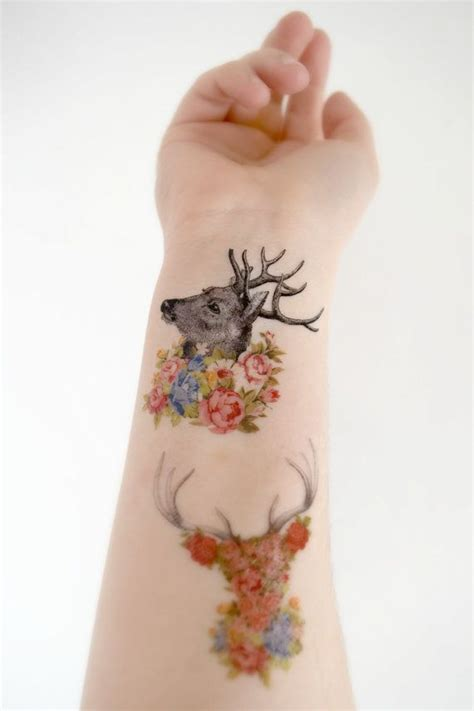 floral temporary tattoos 3 floral deer temporary s woodland floral