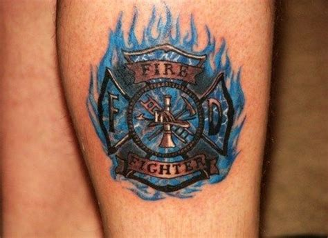 maltese cross tattoos firefighter blue ink flaming firefighter ideas
