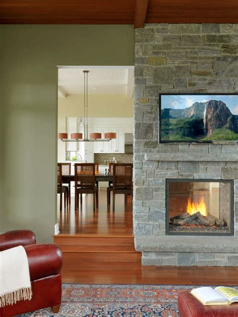 double sided fireplace shares  cozy warmth equally