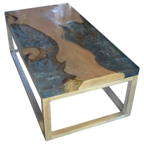 st barts teak wood coffee table with resin for sale at