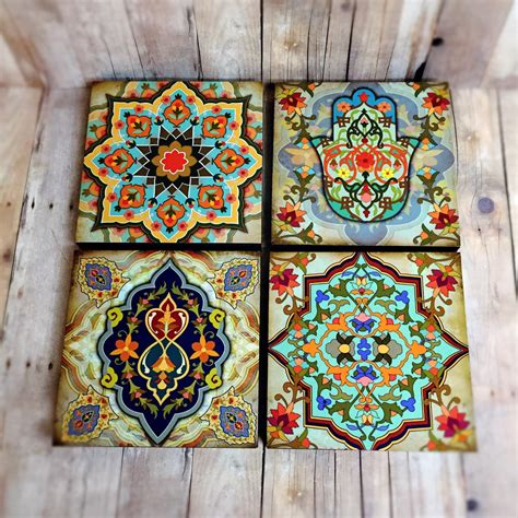 moroccan pattern wall art moroccan wall art set hamsa block set of 4 hamsa wall art