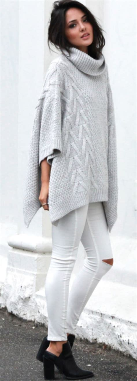 knit outfit knit poncho style fall winter fashion autumn