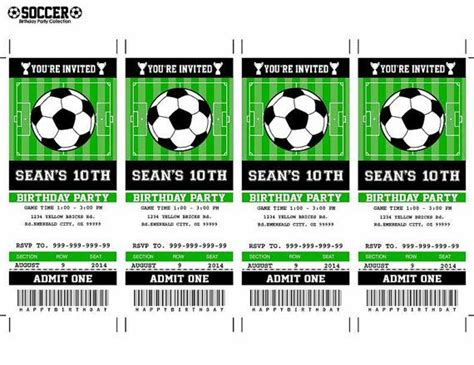 soccer birthday ticket invitation party printable