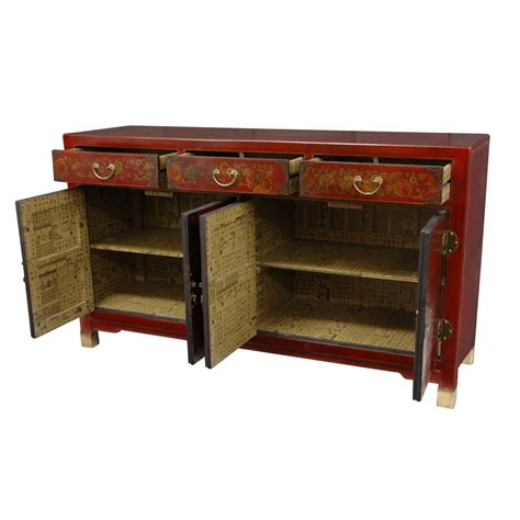 oriental furniture red lacquer large buffet table ebay