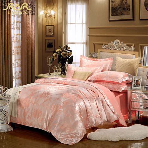 pink and gold comforter romorus europe luxury brand designer satin jacquard
