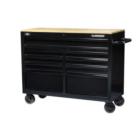 home depot tool bench husky 46 in 9 drawer black out mobile workbench with