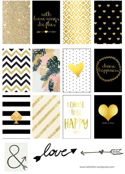 printable gold stickers gold black printables hp large happy planner planners