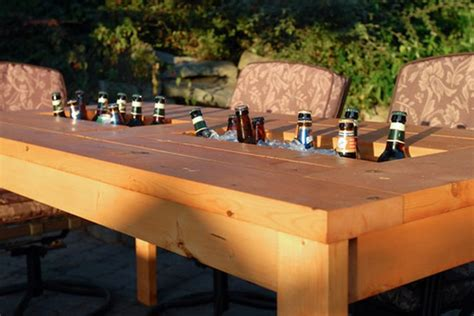 patio table with built in cooler a diy table with built in drink coolers is the way to beat the heat photos huffpost