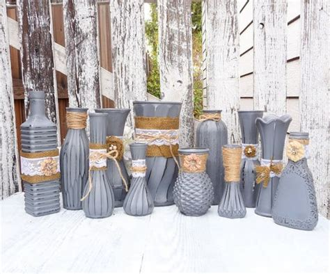 shabby chic vases wedding burlap and lace grey rustic shabby chic vase set by