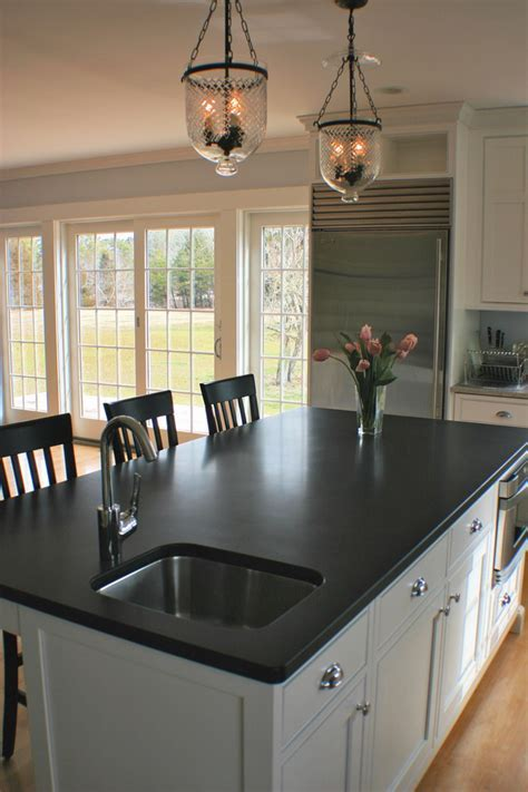 absolute black honed granite Kitchen Contemporary with
