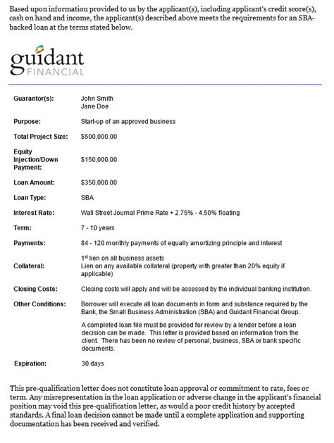 Mortgage Pre Qual Letter introducing guidant s sba pre qual letterguidant financial