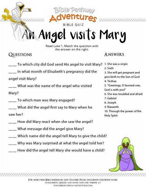 bible quiz for kids an angel visits mary free download