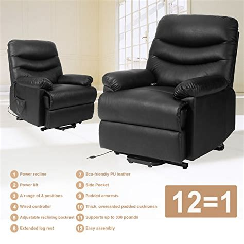 heavy duty lift chair recliner merax power recliner and lift chair in black pu leather