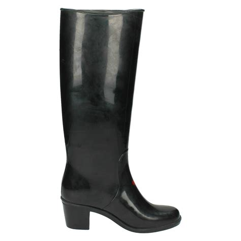 spot on heeled wellington boot with cat design