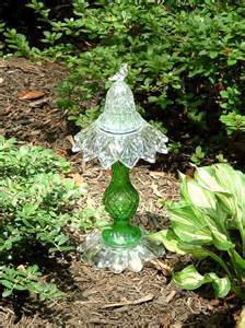Glass Garden Yard Vintage Green Glass Garden Totem Sculpture