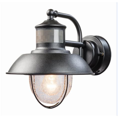 Motion Sensor Patio Light Shop Secure Home Nautical 9 4 In H Matte Black Motion Activated Outdoor Wall Light At Lowes