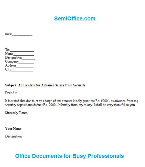 In Advance Letter salary advance request letter format letter format 2017