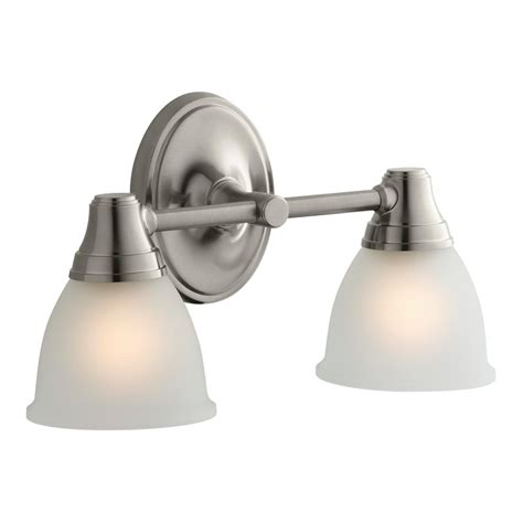 Kohler Bathroom Lighting Brushed Nickel Kohler Forte Transitional 2 Light Vibrant Brushed Nickel Wall Sconce K 11366 Bn The Home Depot