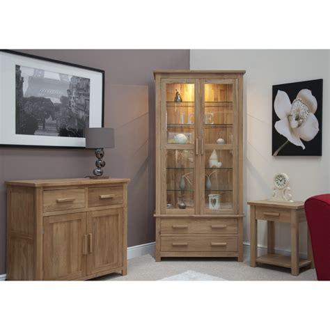 Living Room Display Furniture Eton Solid Oak Living Room Furniture Glazed Display Cabinet Cupboard Ebay