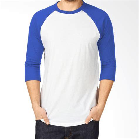Tshirt Tangan Biru by Jual Kaosyes Kaos Polos T Shirt Raglan Lengan 3 4 Putih