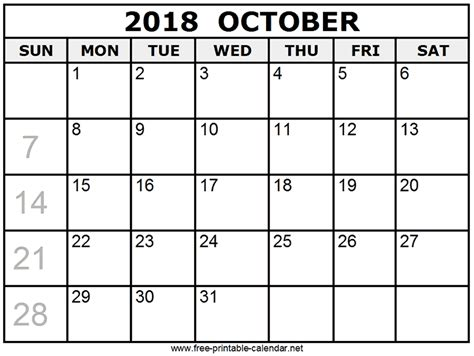 printable calendar october 2018 print october 2018 calendar