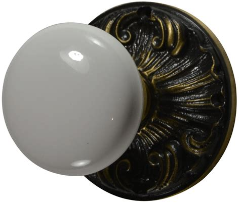 Antique Interior Door Knobs Romanesque White Porcelain Door Knob Set Antique Brass Finish