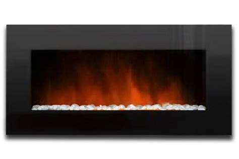 electric fireplace with glass crystals 48 quot electric wall mount fireplace black glass