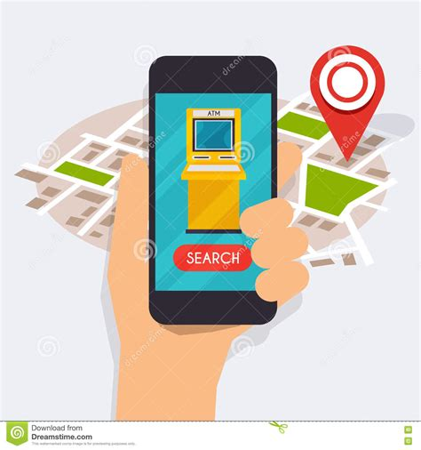 atm app mobile holding mobile smart phone with mobile app atm search