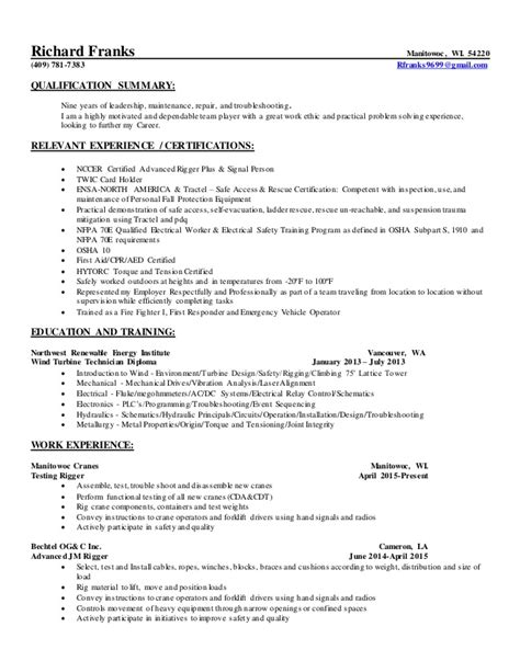 Resume F 22 Production by Richard W Franks Resume 8 15