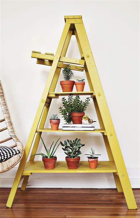 diy ladder shelves painted ladder shelves vintage display