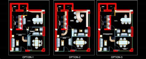 Different layout Options of small office .dwg Plan n Design