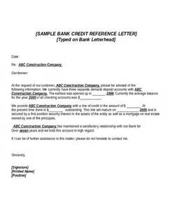 Bank Letter Of Reference 6 Credit Reference Letter Templates Free Sle