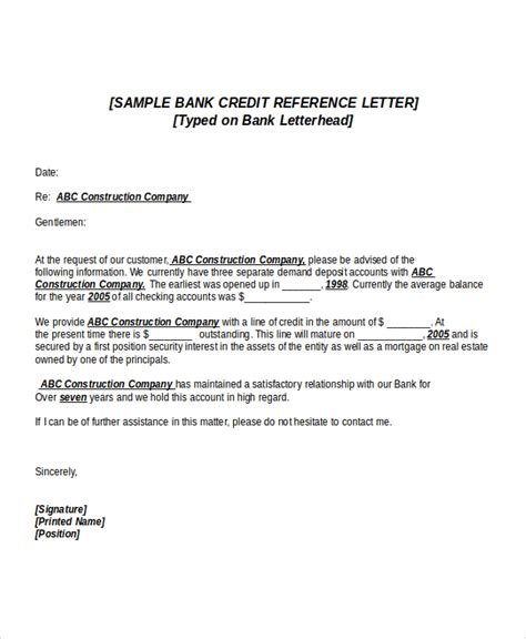 Credit Reference Letter Template credit reference letter template for businesses letter