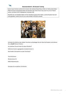 Beschwerdebrief Redemittel B2 2 Kostenlose Daf Tierschutz Arbeitsbl 228 Tter