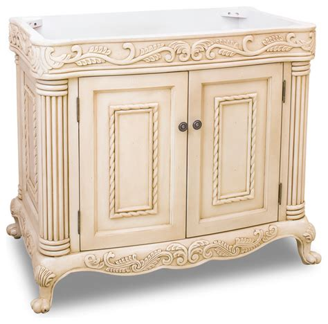 antique white ornate vanity without top traditional