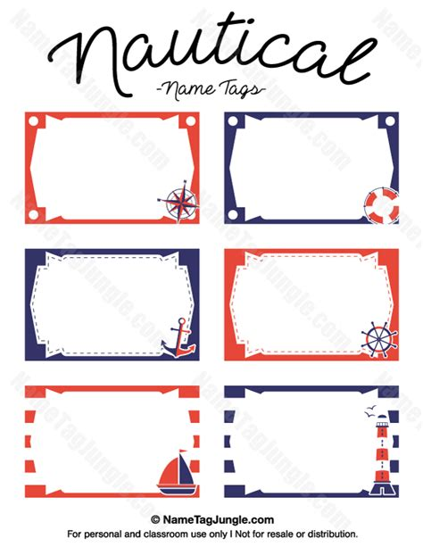 nautical card templates free printable nautical name tags the template can also
