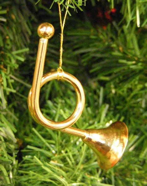 kurt adler shiny brass metal french horn musical